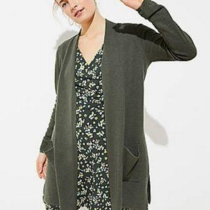 LOFT Olive Green Long Open Cardigan Sweater M